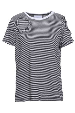 CURRENT/ELLIOTT Cutout striped cotton-blend jersey T-shirt