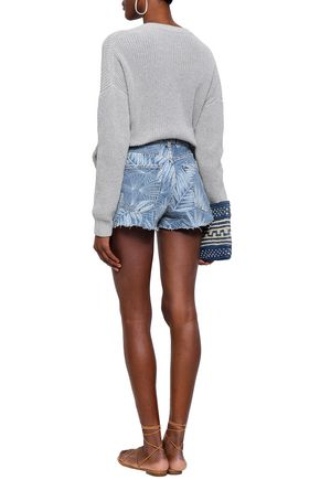 CURRENT/ELLIOTT Printed denim shorts