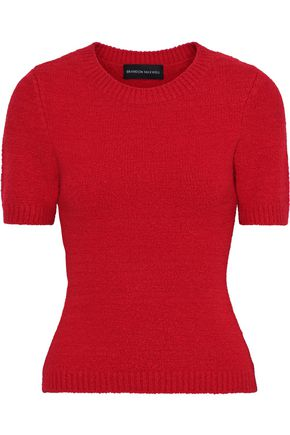 BRANDON MAXWELL Bouclé-knit merino wool-blend top