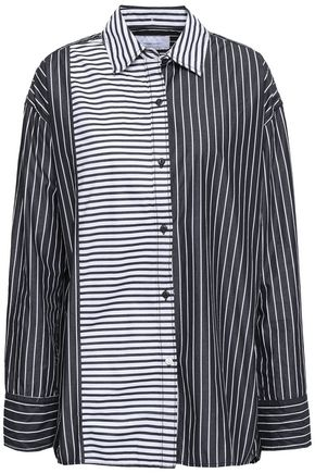 CURRENT/ELLIOTT Paneled striped cotton shirt