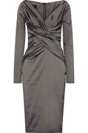 TALBOT RUNHOF Nogales twist-front stretch-taffeta dress