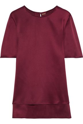 ADAM LIPPES Pleated silk-satin blouse