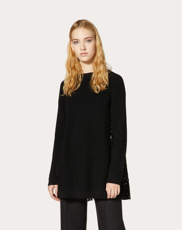 WOOL AND HEAVY LACE PLEATED SWEATER
