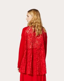 WOOL AND HEAVY LACE PLEATED JUMPER