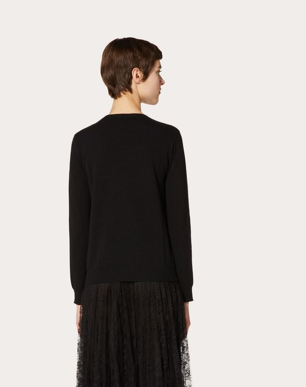 VLTN INLAY CASHMERE WOOL SWEATER
