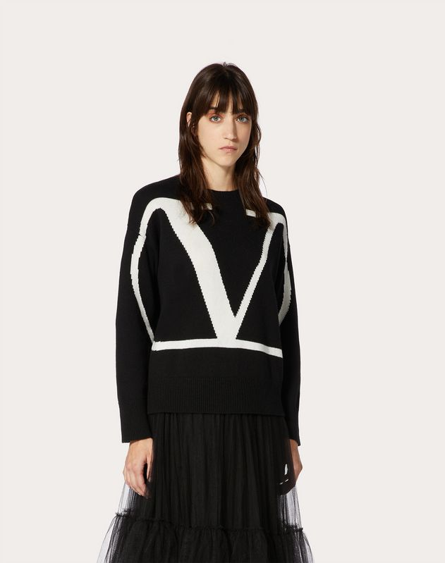 VLOGO INLAY CASHMERE JUMPER