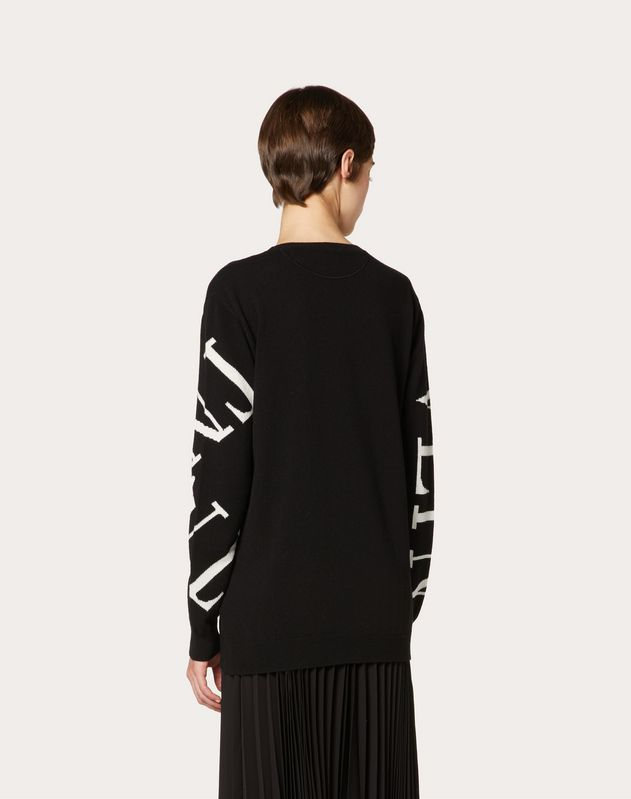 VLTN GRID INLAY CASHMERE WOOL JUMPER