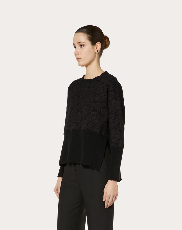CASHMERE WOOL AND HEAVY LACE SWEATER