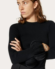 Embroidered Stretch Viscose Sweater