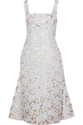 LELA ROSE Pleated layered brocade dress