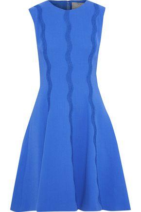 LELA ROSE Crochet-appliquéd stretch-wool crepe dress