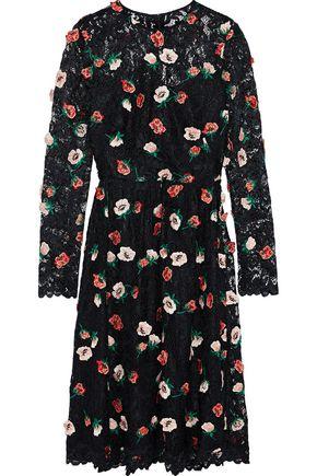 LELA ROSE Floral-appliquéd corded lace dress