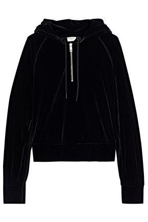 RAG & BONE Cropped velvet hoodie