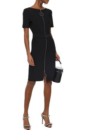 MUGLER Zip-detailed belted stretch-knit mini dress