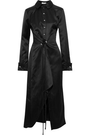 MUGLER Asymmetric tie-front silk-satin midi shirt dress