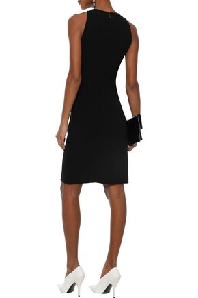 MUGLER Cutout leather-trimmed cady dress