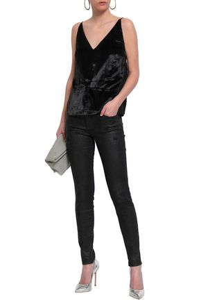 J Brand Woman Lucy Crushed-Velvet And Silk Crepe De Chine Camisole Black
