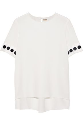 ADAM LIPPES Polka-dot satin-trimmed silk crepe de chine top