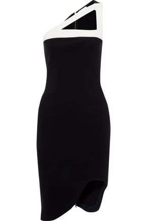 MUGLER One-shoulder asymmetric cutout cady dress