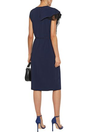 ADAM LIPPES Wrap-effect Chantilly lace-trimmed ruffled cady dress