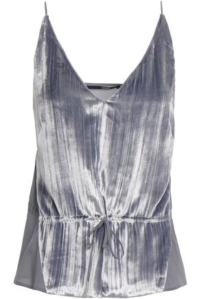 J BRAND Lucy crushed-velvet and silk crepe de chine camisole