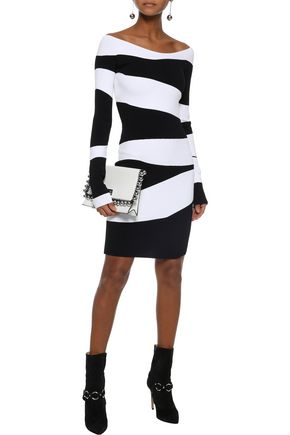 MUGLER Two-tone stretch-knit mini dress