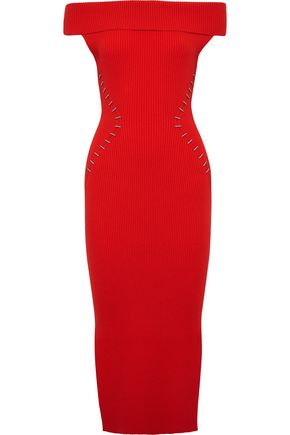 MUGLER Off-the-shoulder embellished ribbed-knit midi dress