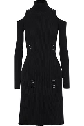 MUGLER Cold-shoulder embellished ribbed-knit turtleneck dress