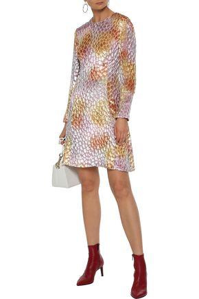 ADAM LIPPES Flocked chiffon mini dress