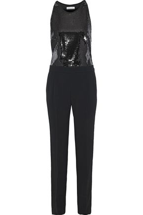 MUGLER Sequined crepe and cady jumpsuit