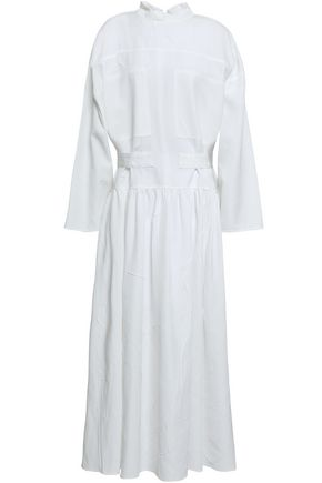 JOSEPH Gathered crinkled poplin midi dress