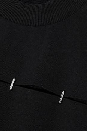 MUGLER Cutout French cotton-terry sweatshirt