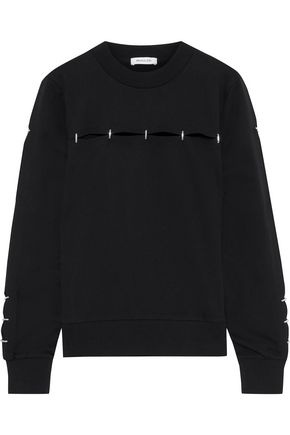 MUGLER Cutout French cotton-terry sweatshirt