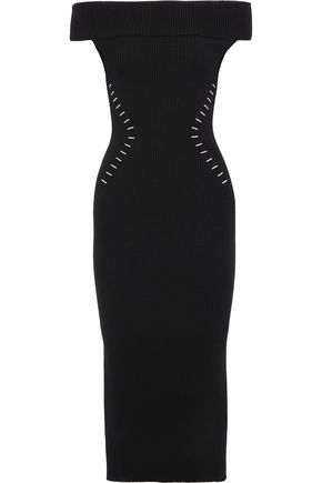 MUGLER Off-the-shoulder ribbed-knit midi dress