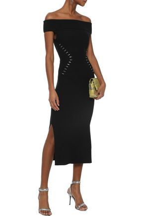 MUGLER Off-the-shoulder embellished ribbed-knit midi dress