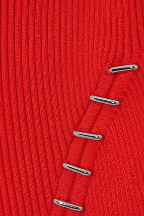 MUGLER Cold-shoulder embellished ribbed-knit top