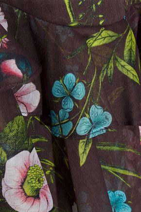 LELA ROSE Ruffle-trimmed floral-print cotton-organza top