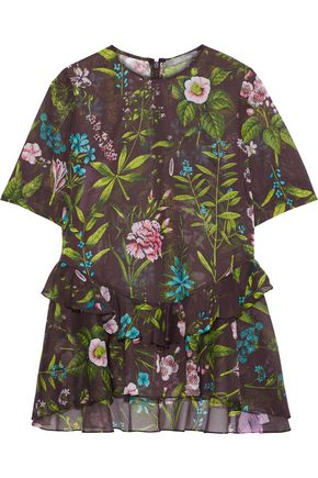 LELA ROSE | Lela Rose Ruffle-Trimmed Floral-Print Cotton-Organza Top | Goxip
