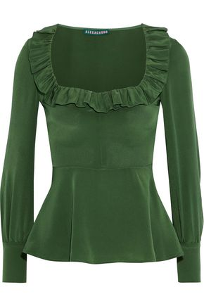 ALEXACHUNG Ruffle-trimmed washed-silk peplum top