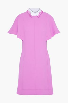 LELA ROSE Poplin-trimmed stretch-wool crepe mini dress