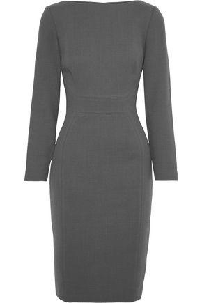 LELA ROSE Stretch-wool crepe dress
