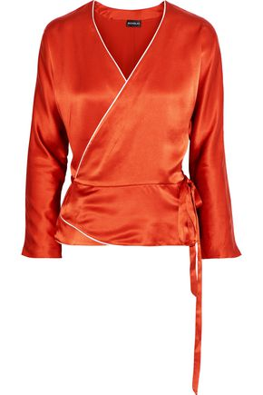 NICHOLAS Silk-charmeuse wrap top