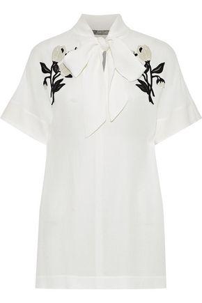 LELA ROSE Pussy-bow floral-appliquéd cloqué blouse