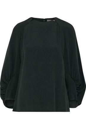 LELA ROSE Ruched cloqué blouse