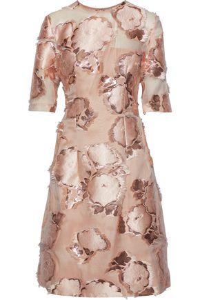LELA ROSE Holly metallic fil coupé organza dress