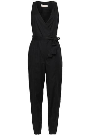A.L.C. Wrap-effect belted twill jumpsuit