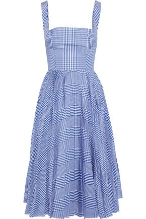LELA ROSE Pleated gingham shell dress