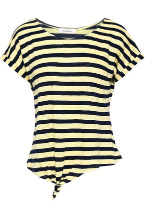 FRAME Knotted striped linen T-shirt