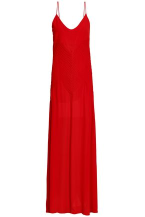 ANINE BING Pleated stretch-crepe gown