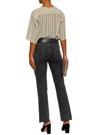 ANINE BING Striped silk crepe de chine shirt